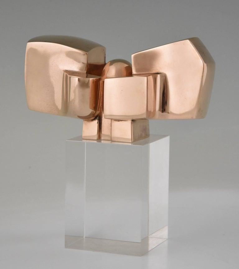 Spanish Bronze Abstract Sculpture on Plexiglass Base by José Luis Sanchez 1970 For Sale