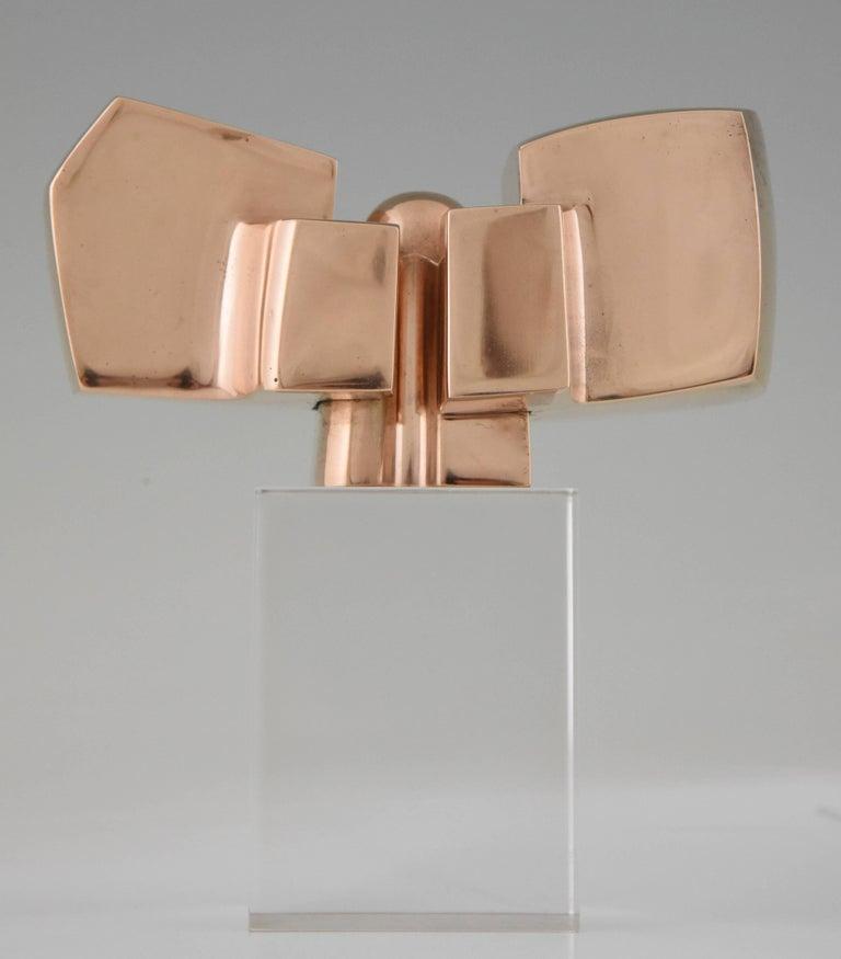 20th Century Bronze Abstract Sculpture on Plexiglass Base by José Luis Sanchez 1970 For Sale