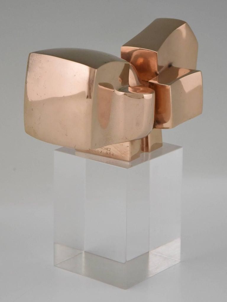 Bronze Abstract Sculpture on Plexiglass Base by José Luis Sanchez 1970 For Sale 2