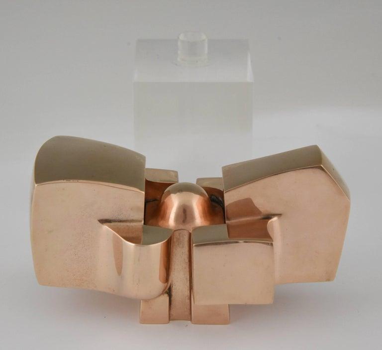 Bronze Abstract Sculpture on Plexiglass Base by José Luis Sanchez 1970 For Sale 3