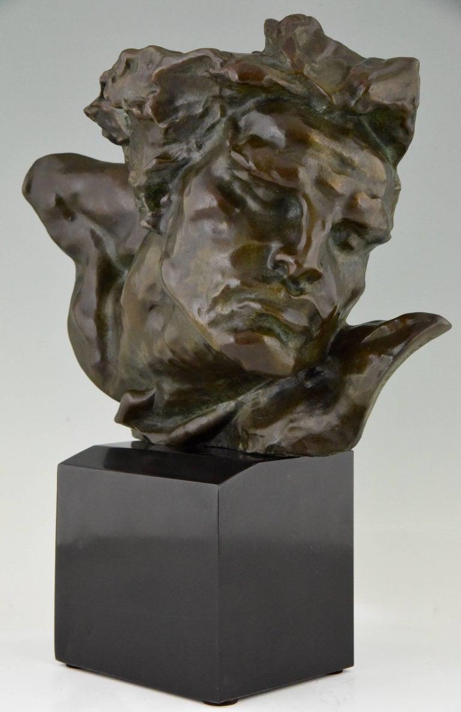 European Art Deco Bronze Sculpture of a Man the Rhone by André César Vermare France, 1920 For Sale