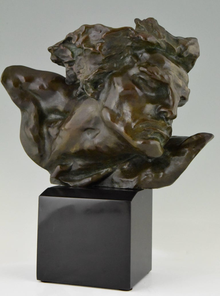 """Strong Art Deco bronze sculpture of a man by André César Vermare on a Belgian black marble base. """"Le Rhone et la Saone"""" is an monumental sculpture in marble depicting the two French rivers as male and female situated outside the Palais de Commerce"""
