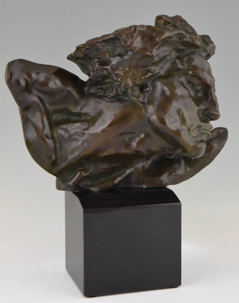 Art Deco Bronze Sculpture of a Man the Rhone by André César Vermare France, 1920 For Sale 1