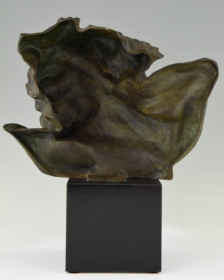 Art Deco Bronze Sculpture of a Man the Rhone by André César Vermare France, 1920 In Good Condition For Sale In Antwerp, BE