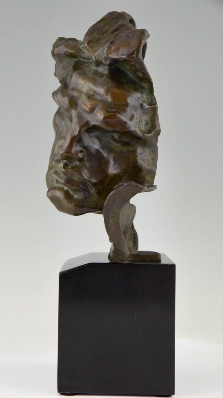 Patinated Art Deco Bronze Sculpture of a Man the Rhone by André César Vermare France, 1920 For Sale