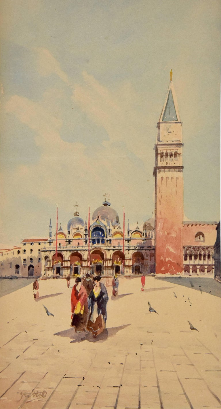 Art Nouveau Watercolor of Venice Women at San Marco Sattio Italy 1900 For Sale