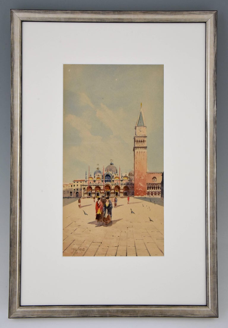 Watercolor painting of Venice, women with colorful long dresses walking on the piazza San Marco in front of the Basilica.  Artist/ Maker: Sattio Signature/ Marks: Sattio