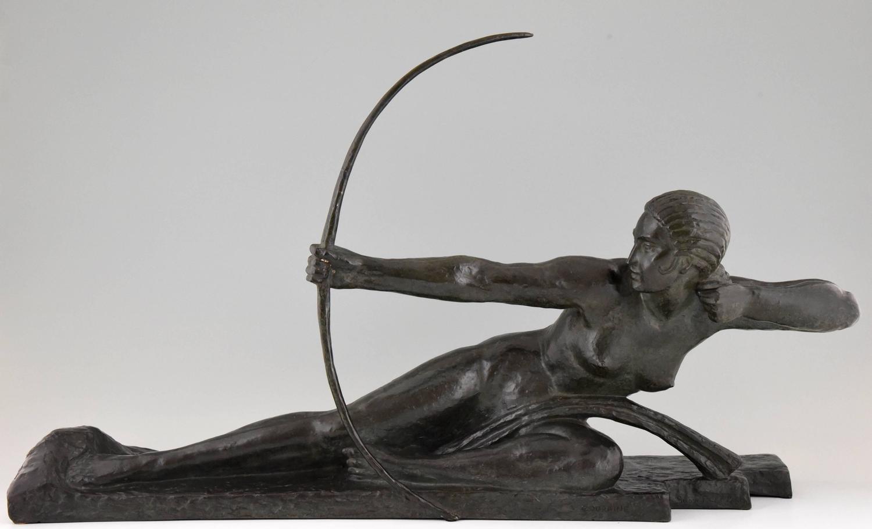 French BRONZE ART DECO DANCER STATUE nude lady sculpture