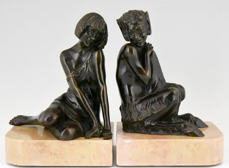 Art Deco Bronze Bookends Satyr and Nymph Pierre Le Faguays, 1930 france 2