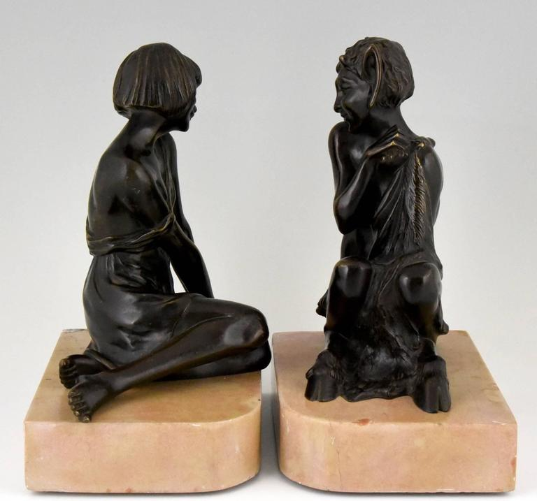 Art Deco Bronze Bookends Satyr and Nymph Pierre Le Faguays, 1930 france 3