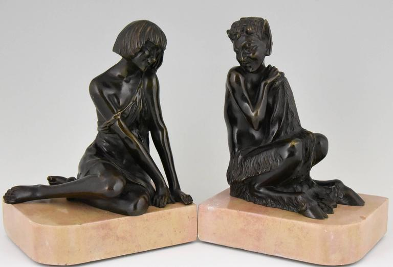Art Deco Bronze Bookends Satyr and Nymph Pierre Le Faguays, 1930 france 7