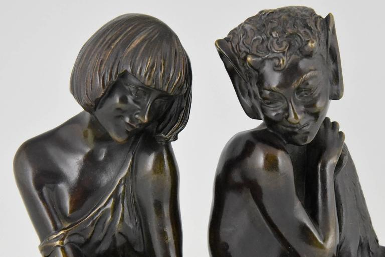 Art Deco Bronze Bookends Satyr and Nymph Pierre Le Faguays, 1930 france 6