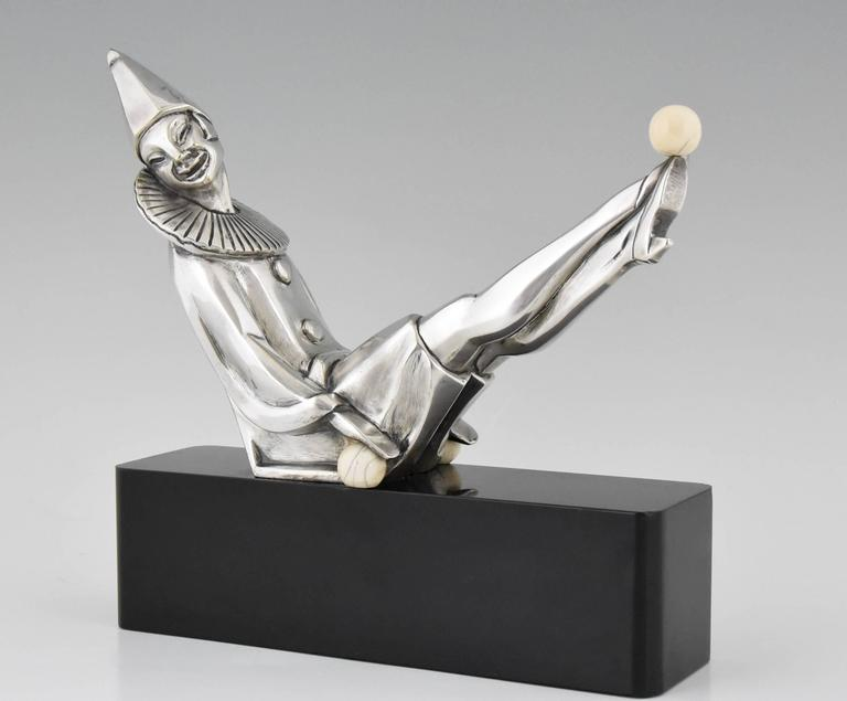 Art Deco bronze sculpture of Pierette or femaie clown by Marcel Andre Bouraine. (1886-1948)
