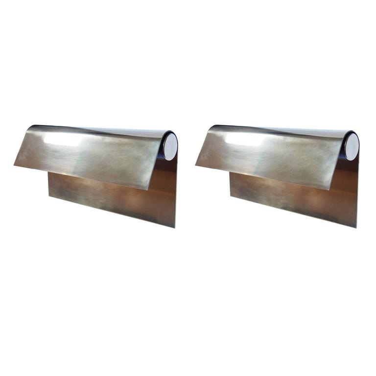 Pair of Large Brass Sconces by Christophe Gevers