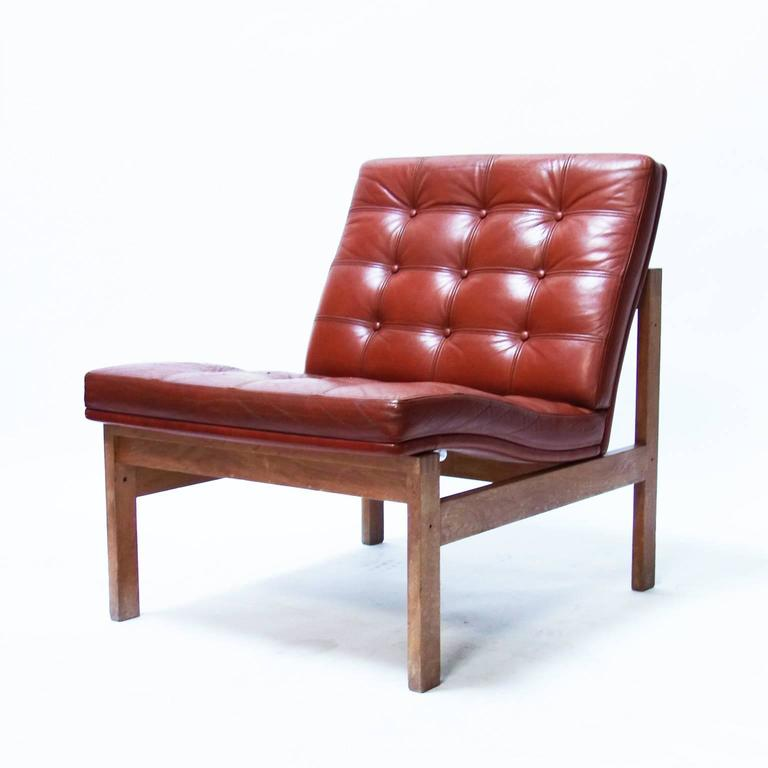 Pair of Cognac Leather Chairs by Ole Gjerløv Knudsen and