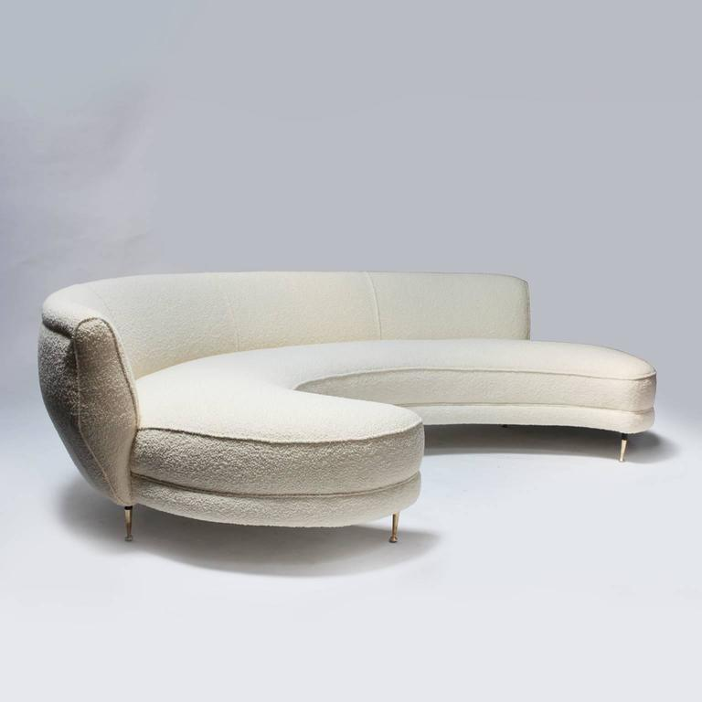 sofa curved italian curved velvet sofa 1950s for at pamono. Black Bedroom Furniture Sets. Home Design Ideas