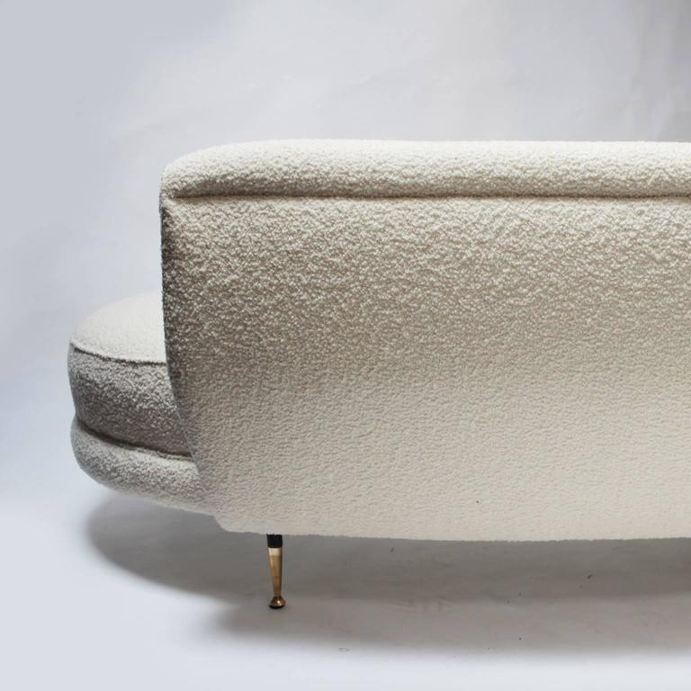 Italian Curved Sofa with Brass Legs For Sale 3