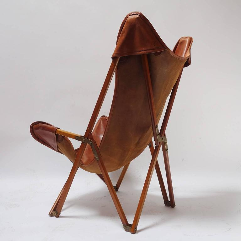 Foldable Leather Folding Chair In The Spirit Of Joseph Beverly Fenby.  Inspired By The Tripolina