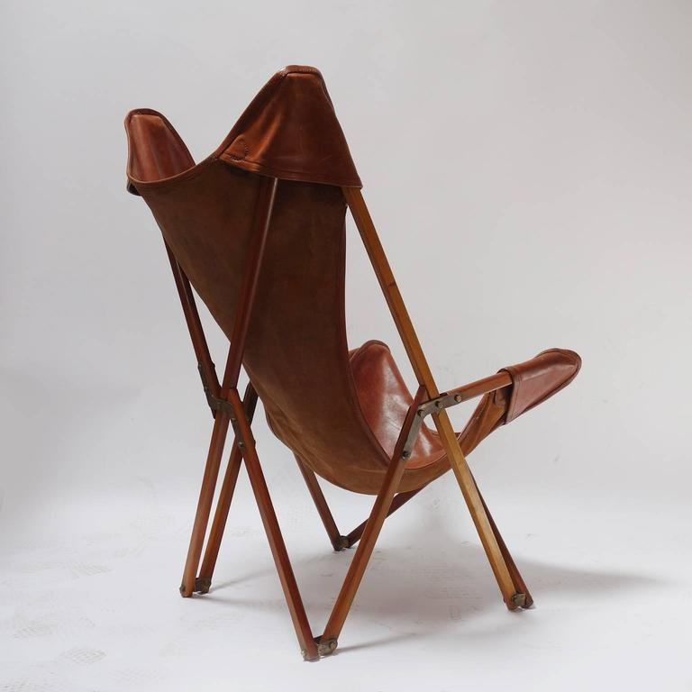 Italian Foldable Leather Armchair In The Style Of Joseph Beverly Fenby For  Sale