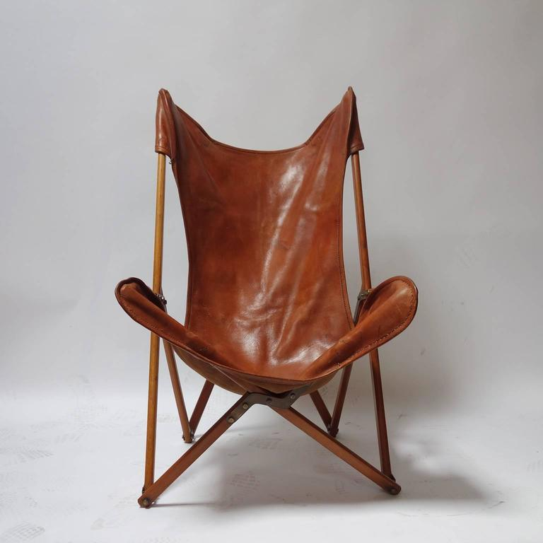 Foldable Leather Armchair In The Style Of Joseph Beverly