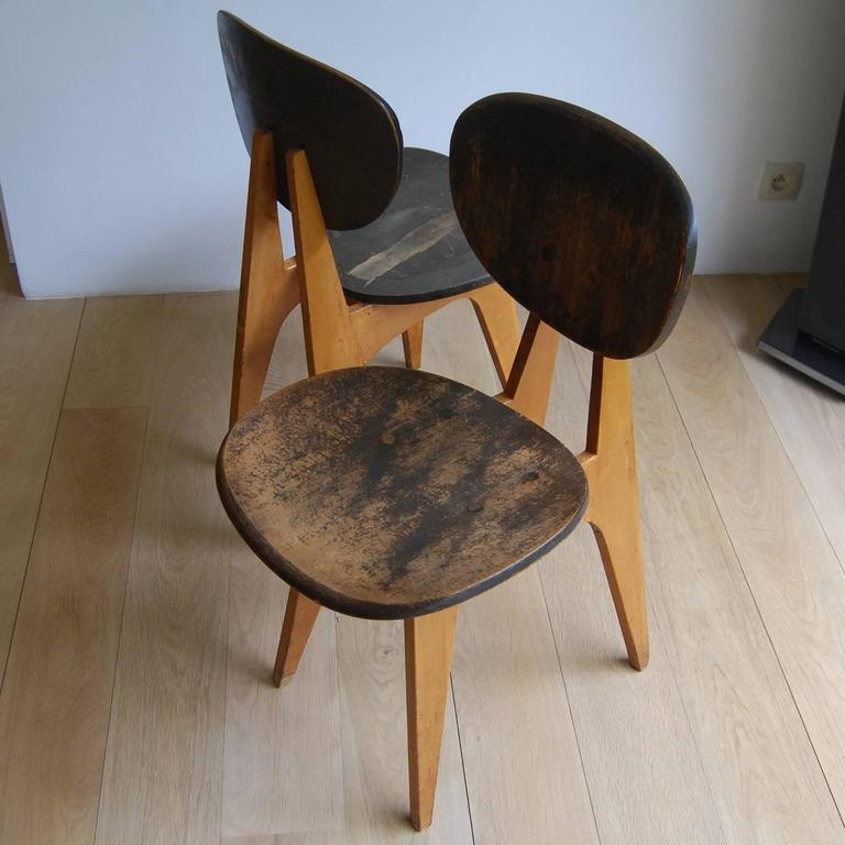 Pair Of Side Chairs Model No 3221 By Junzo Sakakura At