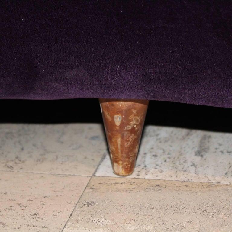 Curved Italian Sofa in Aubergine Velvet For Sale 3