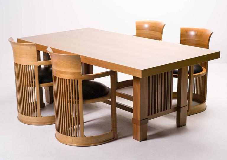 Frank Lloyd Wright For Distinguished Dining Set Large Table And Four Chairs In The Clic Combination Of Natural