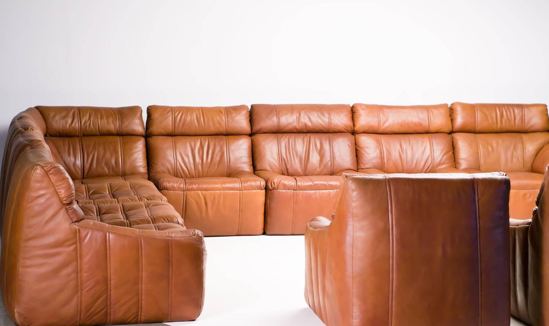 Rare rolf benz ten piece sectional sofa at 1stdibs for Wohnlandschaft cognac