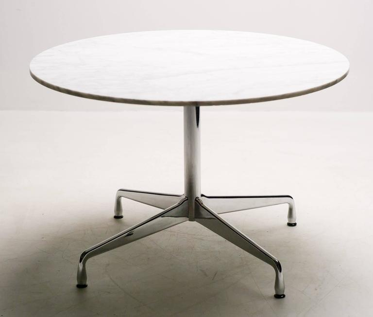 Mid Century Modern Charles Ray Eames Carrara Marble Segmented Base Dining Table For