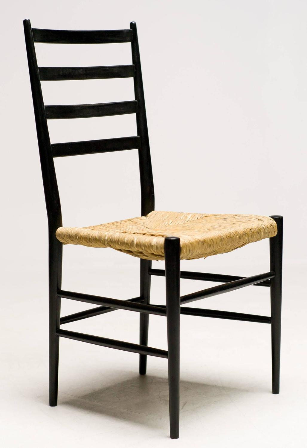 Elegant Italian 1950 Black Ash And Rush Chairs For Sale At