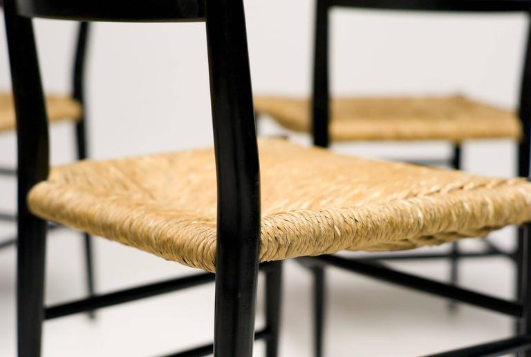 Elegant Italian 1950 Black Ash And Rush Chairs At 1stdibs
