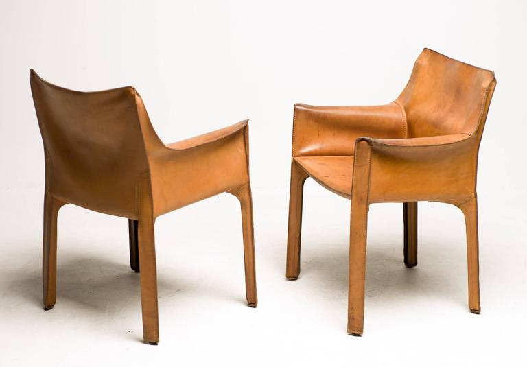 Beau Cab Chairs Designed By Mario Bellini For Cassina Italy In The Desirable And  Rare Natural Saddle