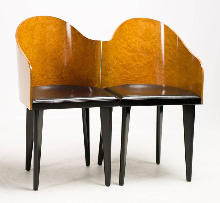 A Wonderful Pair Of Asymmetrical Chairs By Saporiti. Curved Maple Burl  Veneer Back And Black