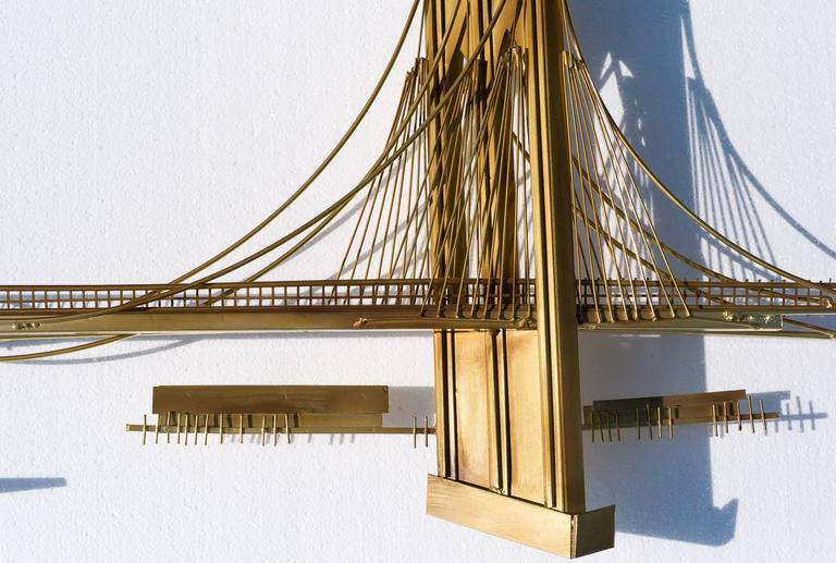 "Curtis Jeré ""Over The River"" Brass Wall Sculpture 4"