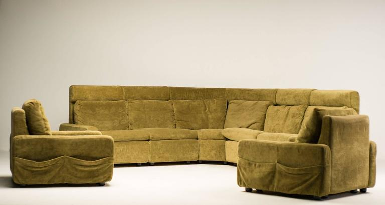 Walter Knoll Modular Sofa In Green Velvet For Sale At 1stdibs