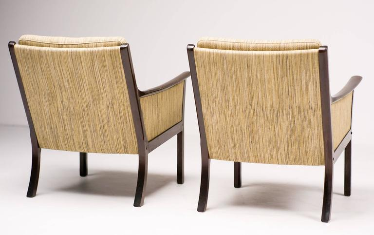 Mid-20th Century Ole Wanscher Pair of Lounge Chairs in Mahogany For Sale