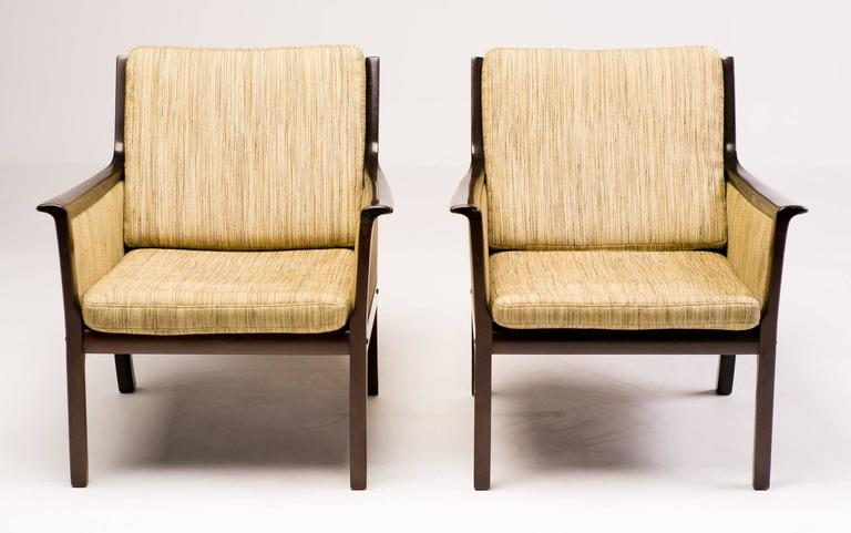 Scandinavian Modern Ole Wanscher Pair of Lounge Chairs in Mahogany For Sale