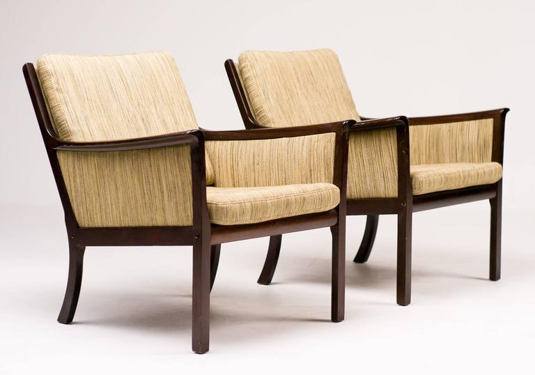 Ole Wanscher Pair of Lounge Chairs in Mahogany For Sale 2