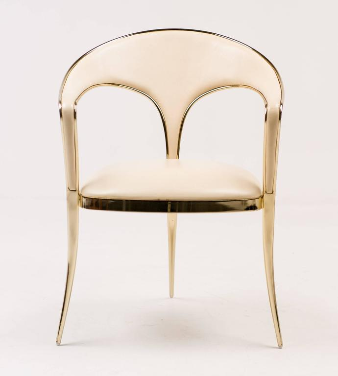 Polished Brass Vidal Grau Cosmos Chairs In Nappa Leather For Sale