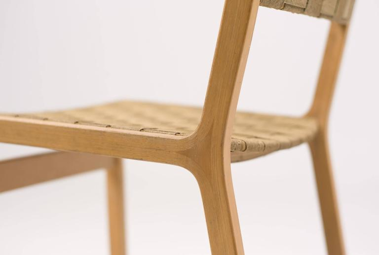Set Of Four Woven Canvas Strap Plywood Dining Chairs For