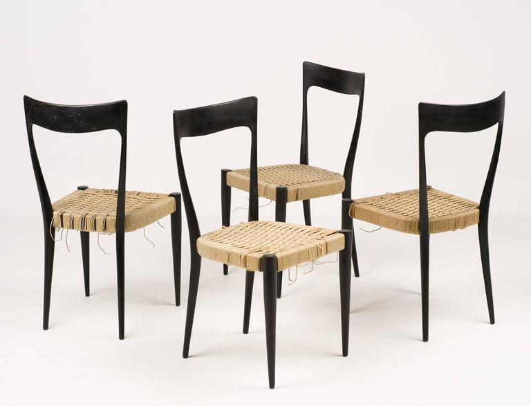 Elegant Set Of Mid Century Modern Italian Dining Chairs For Sale At 1stdibs