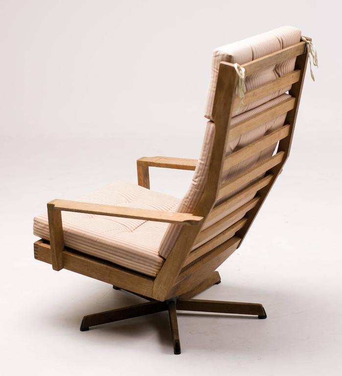 Steel Danish Madsen and Schubel Oak Lounge Chair For Sale