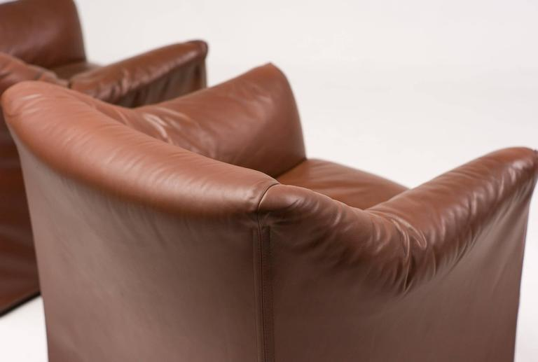 Mario Bellini for Cassina Pair of Leather Lounge Chairs 8