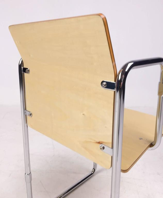 Rietveld designed this chair in 1932 in search of an easy-to-assemble chair for little money. Only two examples were produced in the early 1930. The existence of this model was rediscovered in 2010 when the owners delivered it to the Central Museum