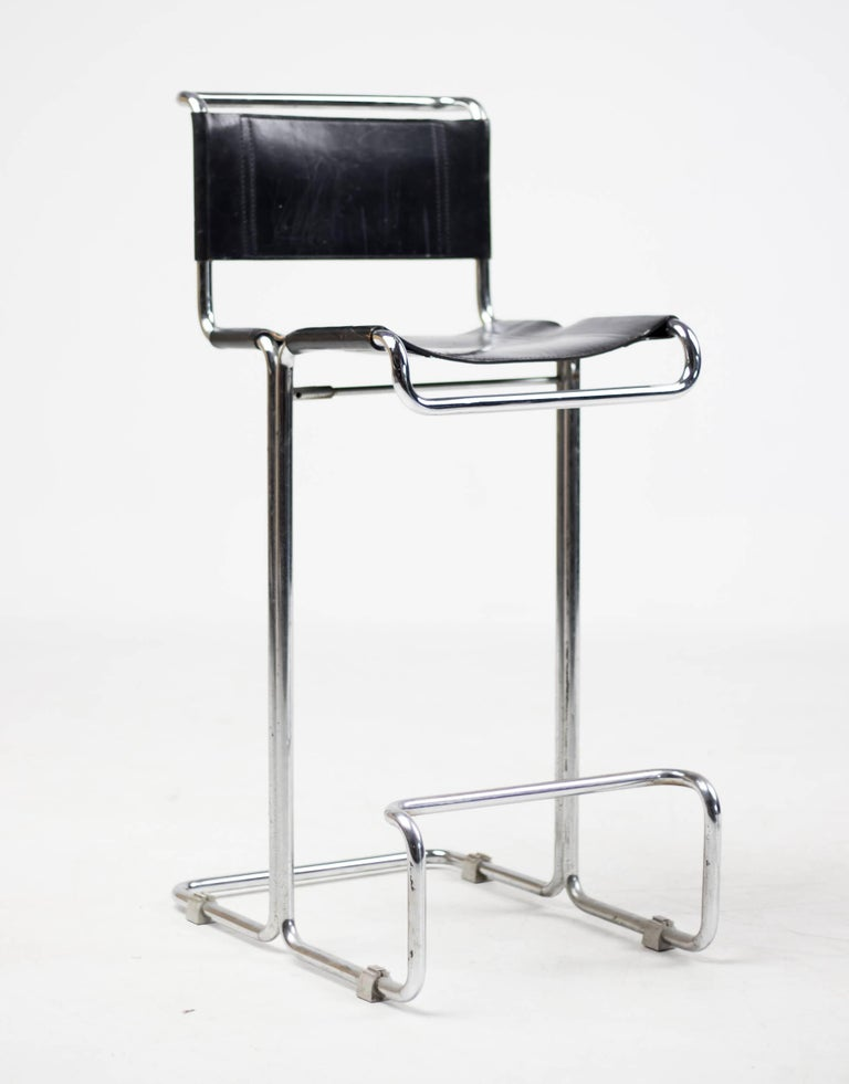 Pair Of Leather Bar Stools Bauhaus Mart Stam For Sale At