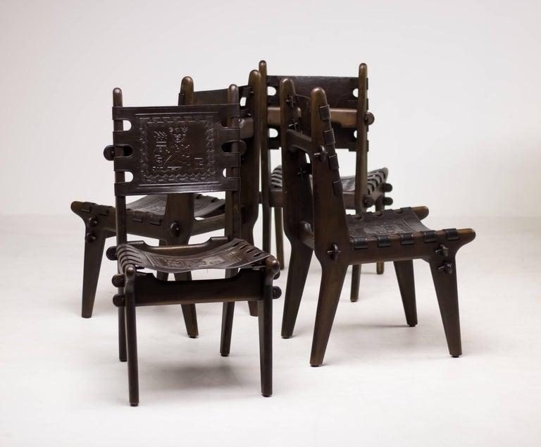 Set of Four Ecuadorian Dining Chairs by Angel Pazmino for Muebles de Estilo For Sale 1
