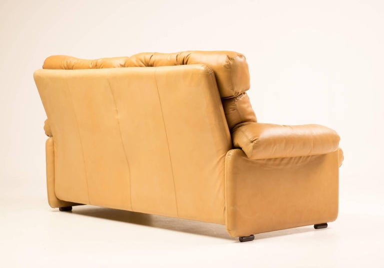 Mid-Century Modern Coronado Leather Loveseat by Tobia Scarpa for B&B Italia For Sale