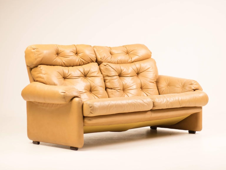 Late 20th Century Coronado Leather Loveseat by Tobia Scarpa for B&B Italia For Sale