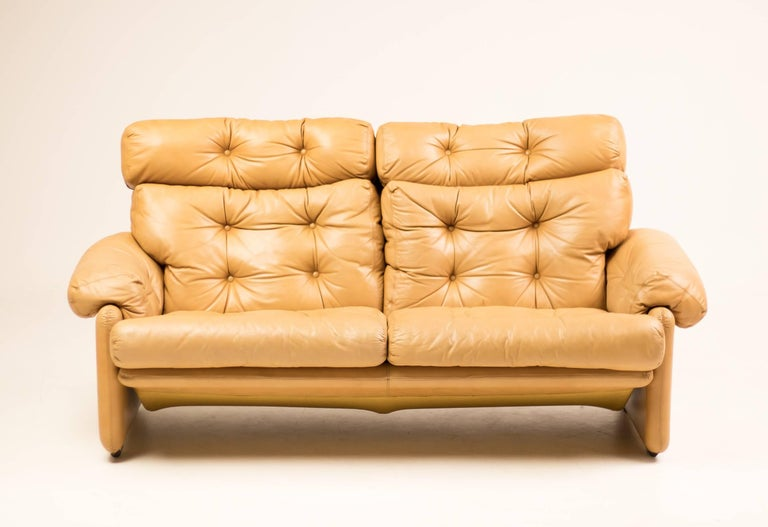 Coronado Leather Loveseat by Tobia Scarpa for B&B Italia For Sale 2