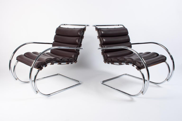 Pair of MR lounge chairs designed in 1927 by Mies van der Rohe, made by Knoll International in 2002.
